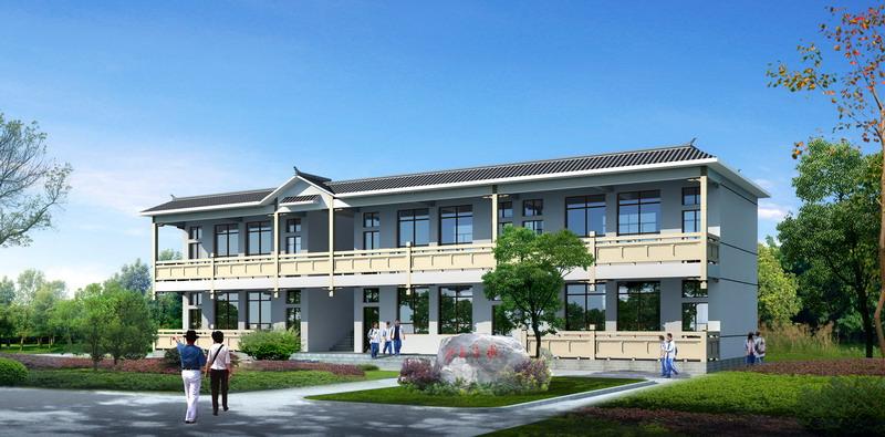 草坝完小教学楼效果图,一共6间 教学楼前面要留出篮球操场,实际
